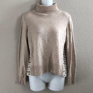 Anthropologie Moth pleated polka dot print sweater